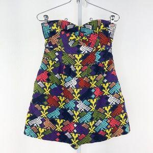 Tibi Multi Color Knit Skort Romper Jumpsuit Size 8